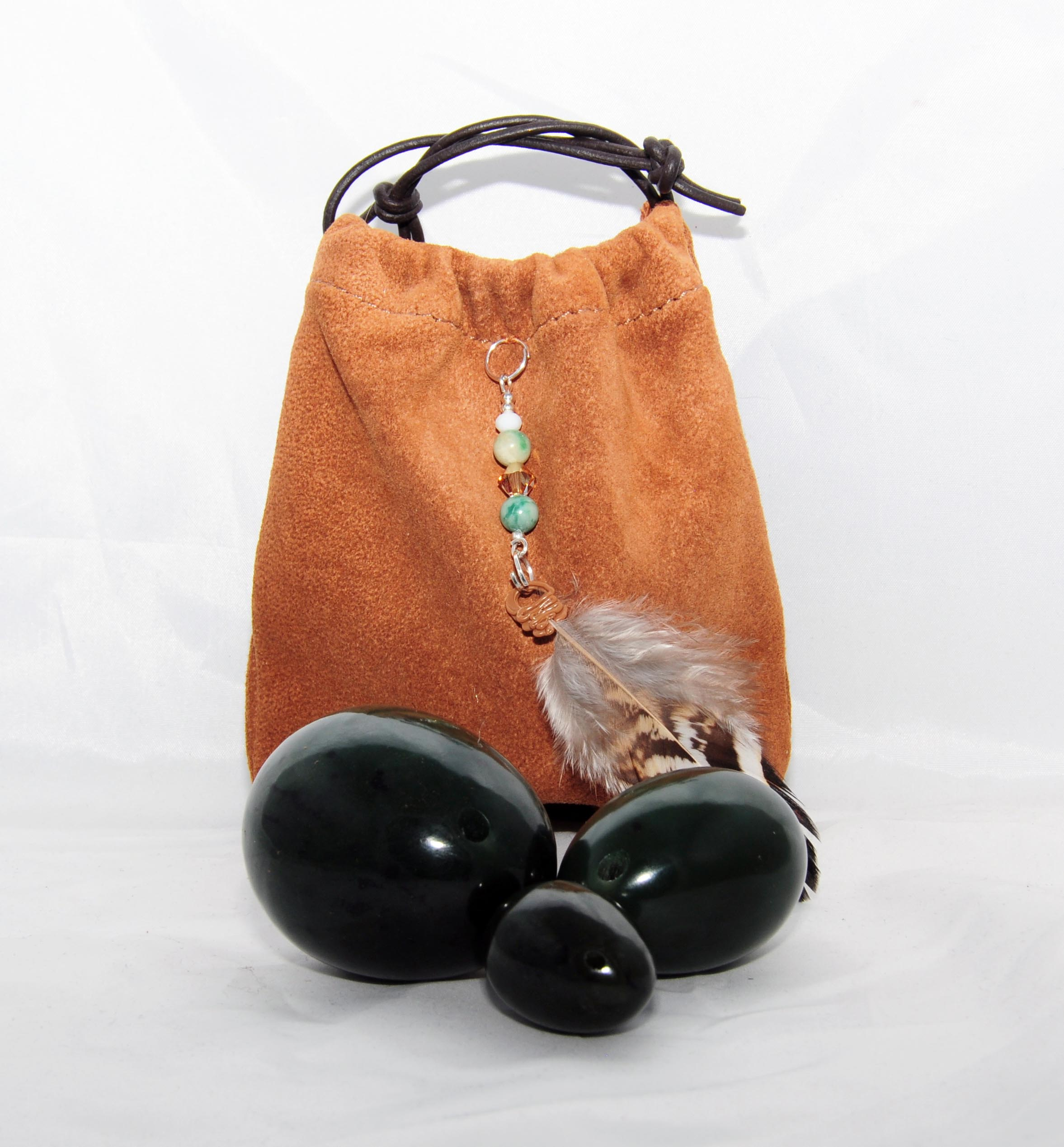 Nephrite Jade set of 3 in weightlifting leather pouch
