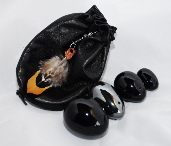 Black Obsidian and Hematite Deluxe Set of 4 with Soft Leather Weightlifting Pouch