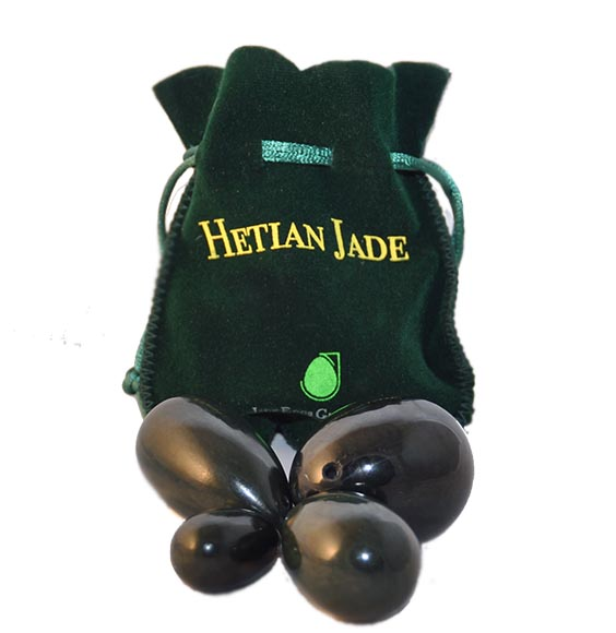 Nephrite Jade Set Of 4 With Stylish Velvet Pouch