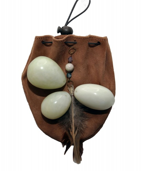 Jade Eggs Set Of Three (Large Set) With Weightlifting Pouch and Instructions