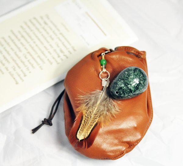 Jadeite Jade Eggs In Medium Sizes With Soft Leather Weightlifting Pouch.