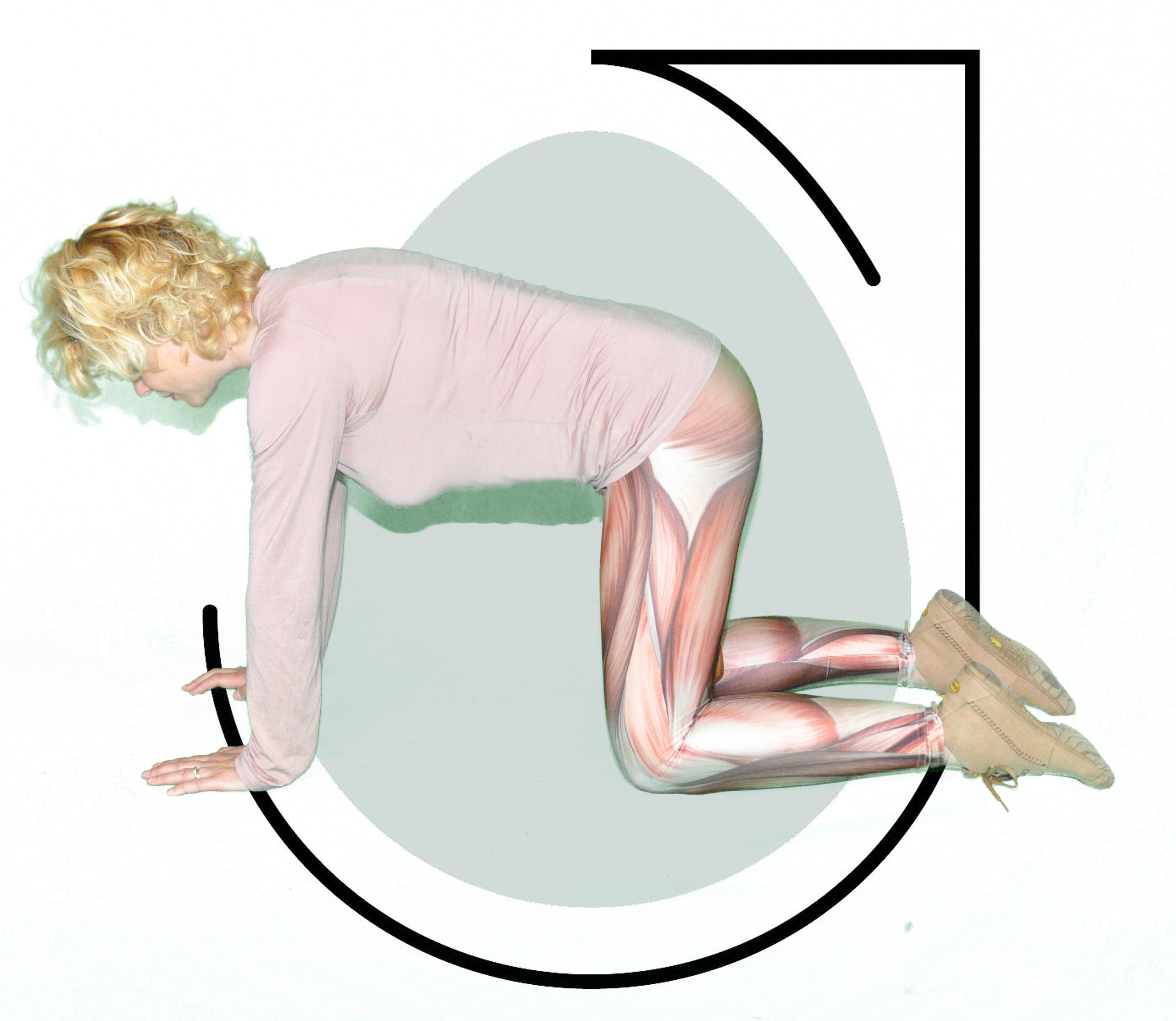 6. With hands and knees on ground and back aligned, pull up the egg, squeeze, relax a little then pull up twice swiftly and then relax back down.  Repeat 10 times.